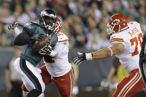 Birds' O-line not yet sturdy enough to keep Vick upright