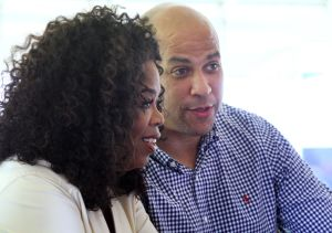Oprah And Cory: Oprah Winfrey and Newark Mayor Cory Booker, who is running for U.S. Senate, attend the 25th annual Whitesboro Reunion on Saturday. - Edward :ea