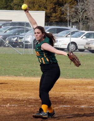OLMA Softball: Korri Harmon #11 of Our Lady of Marcy Academy's delivers a pitch against Plesasantvlle's during softball game at Our Lady of marcy Academy High School Tuesday, April 8, 2014. - Edward Lea