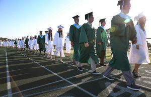 Mainland Reg Graduation: Graduates walk the athletic field track to commencement. Tuesday June 24 2014 Mainland Regional Graduation. (The Press of Atlantic City / Ben Fogletto) - Ben Fogletto