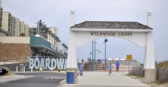 Boardwalk, bike path joined by ramp at Cresse Avenue in Wildwood Crest