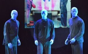 What Does It Take To Be  In The Blue Man Group?: The Blue Men don't speak at all during their show, so their facial expressions are key.