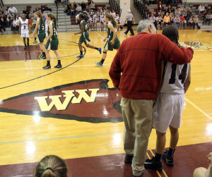 : Wildwood High School girls basketball coach Dave Troiano won his 600th career coaching victory in a win against Cape May County Technical High School. Troiano talks to one of his players during the game. Tuesday Jan. 29, 2013. (Dale Gerhard/Press of Atlantic City)  - Photo by Dale Gerhard