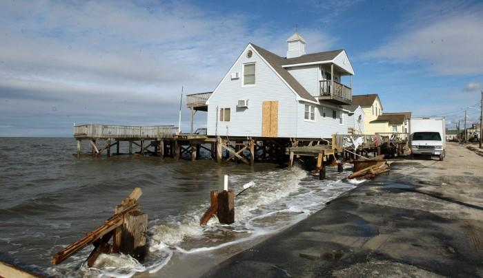 Damaged homes on South Beach Ave on the Delaware Bay