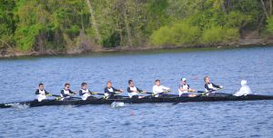 Mainland Freshman 8: The Mainland Freshman 8 boat:coxswain Taylor Nardone and, from bow to stern, Josh Leavy, Griffin Cattrell, Connor Mitchell, Alex Primo, Jason Rodman, David Evans, Ian Hutchings and Dillon Hall. Advance to finals with a time of 04:56.91