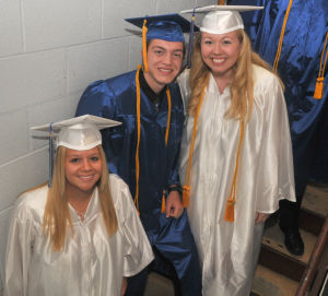 Cumberland Christian Graduation: Jane Cottrell, 19, from Newfield, Joshua DuBois, 18, from Buena, and Jessica Eachus, 18, from Bridgeton, gather for the camera during Cumberland Christian School's Graduation ceremony held at Cumberland Christian School in Vineland Friday, June 14, 2013. Photo/Dave Griffin  - John David Griffin