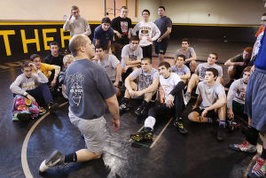 Southern Wrt: Southern Regional wrestling coach John Stout works with team. Tuesday February 11 2014 (The Press of Atlantic City / Ben Fogletto) - Ben Fogletto