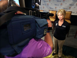 Shoprite Lpga Classic Media Day: LPGA defending champion Karrie Webb answers questions, Tuesday May 6, 2014, during a media event at Stockton Seaview Hotel and Golf Club in Galloway Township. (Staff Photo by Michael Ein/The Press of Atlantic City) - Michael Ein