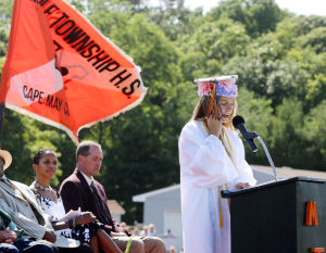MIddle Township Graduation: Salutatorian Dorothy Stump delivers her address. Middle Township High School held their 106th annual commencement ceremony on Memorial Field in Cape May Court House. Tuesday June 24, 2014. (Dale Gerhard/Press of Atlantic City) - Dale Gerhard