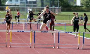 Atlantic County Track And Field Championships: Egg Harbor Township's Cassidy Treanor places first in 400 mm hurdle during Atlantic County track and field championships at Buena Regional High School Thursday, May, 8, 2014. - Edward Lea