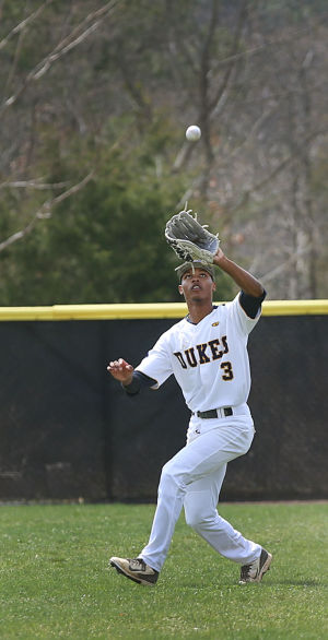 Cumberland County Baseball: Cumberland 3 Jordan Glover makes a routine catch in center during the second inning. Sunday April 13 2014 Middlesex County College at Cumberland County College Baseball. (The Press of Atlantic City / Ben Fogletto) - Ben Fogletto