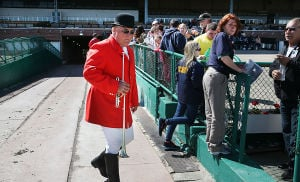 Day At The Races: Racetrack bugler Richard Garrick of Oceanville gets ready for races to begin. Sunday April 27 2014 Live turf racing at the Atlantic City Racecourse in Mays Landing. (The Press of Atlantic City / Ben Fogletto) - Ben Fogletto