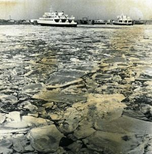 Cape May-Lewes Ferry 7.jpg: January 17, 1978. The Cape May-Lewes Ferry sits in the icy waters of the Cape May Canal. Press photo by Tom Kinnemand Jr. Historical photo archives