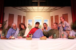 M28 Holy Thursday2.jpg: Seth Bazacas play Jesus in the Ocean City Tabernacle dress rehearsal Tuesday of 'The Living Last Supper'  - Photo by Edward Lea