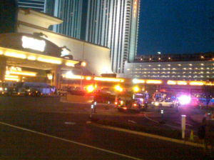 Showboat Fire: Atlantic City firefighters respond to a fifth-floor fire at the Showboat Wednesday evening.  - Joel Landau