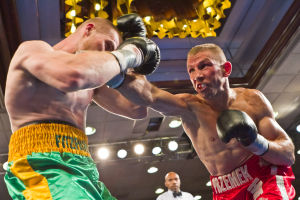 Boxing: Somers Point boxer Patrick Majewski, right, fights Chris Fitzgerald in Atlantic City last summer. Press staff writer David Weinberg chose Majewski as the local Fighter of the Year for 2012.  - Chris Toney Photography, July 7, 2012