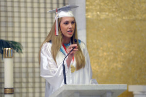 St Joe's Graduation: Valedictorian Samantha Wetzel, 18, from Sicklerville, address the audience during the St. Joseph High School 75th Commencement Exercises held at St. Joseph Church in Hammonton. Photo/Dave Griffin - Dave Griffin