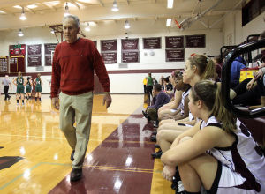: Wildwood High School girls basketball coach Dave Troiano won his 600th career coaching victory in a win against Cape May County Technical High School. Troiano paces the sideline. Tuesday Jan. 29, 2013. (Dale Gerhard/Press of Atlantic City)  - Dale Gerhard