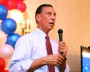 Congress - LoBiondo: Republican Congressmen Frank LoBiondo gives his victory speech to supporters at the Ramada Inn in Vineland after his re-election in November.  - Photo by Edward Lea
