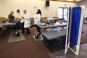 BLOOD DRIVE: Doner turn-out was small today at the American Red Cross Blood Drive at the All Wars Memorial Building in Atlantic City. - Ben Fogletto