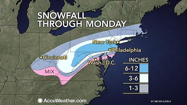 Snowfall Feb. 3
