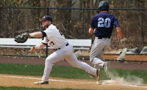 Cumberland County Baseball: Cumberland 27 Devin McCann gets an out on Middlesex runner 20 Frank Gaydes during the first inning. Sunday April 13 2014 Middlesex County College at Cumberland County College Baseball. (The Press of Atlantic City / Ben Fogletto) - Ben Fogletto