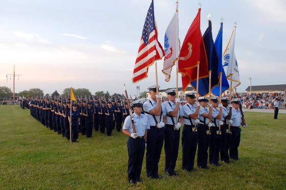 Sunset parades at Cape May Coast Guard Training Center