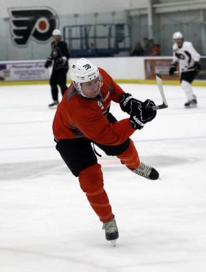 Ready Or Not, Flyers, The Puck Drops Today: The Flyers Claude Giroux takes a shot during training camp this week in Voorhees. They begin their 48-game schedule today against the Penguins. Giroux, their best player and a candidate for the Hart Trophy, will wear the captains C this season.