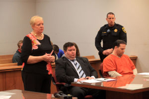Latko Sentencing: At left, Edith Regler, aunt of Patrick Latko, far right, during his sentencing for the killing of Hammonton mother and son Diana and Ryan Patterson. in court in Mays Landing, Monday June 10, 2013. In center is his attorney Kevin Moses.  - Vernon Ogrodnek