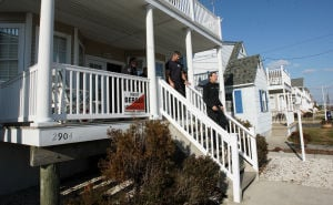 Leveraging The Storm: Ocean City firefighters from Station No. 2 are beinghoused in a condo across the street from the firehouse due to damage to their building from Hurricane Sandy.  - Dale Gerhard