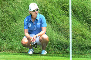 LPGA: Karrie Webb studies an upcoming putt on the 9th green. Sunday June 2 2013 LPGA ShopRite Classic at Seaview Resort in Galloway. Final Day. (The Press of Atlantic City / Ben Fogletto)  - Ben Fogletto