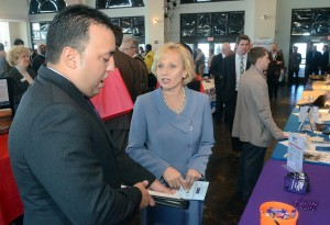 Vet Job Fair: Air Force veteran Antonio Colon III, of Brigantine, talks with Lieutenant Governor Kim Guadagno at the job fair. A job fair, at the Ocean City Music Pier, especially geared to military veterans, who experience a much higher unemployment rate than the general working population. It's the latest of several initiatives to help veterans re-enter the workforce. Thursday, October, 11, 2012, 2012 ( Press of Atlantic City/ Danny Drake)  - Danny Drake
