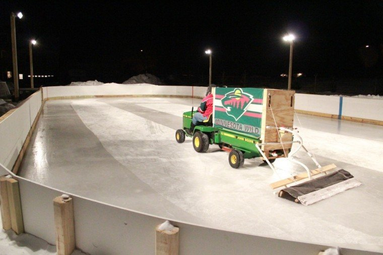 Homemade ice rink wins contest for Home zamboni
