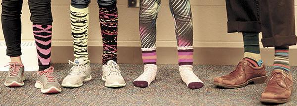 Students sport crazy socks