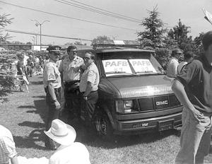"""participants at a """"save the base"""" rally in June 1993"""