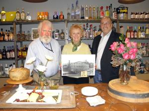 <p>Joe Hemingway (left), president of Sandy Hook Organization for Prosperity, First Selectman Pat Llodra and Town Historian Dan Cruson enjoyed interesting pieces of the past and fine wines during a kick-off, fund-raising celebration for Museum in the Streets at Nick's Chilled and Distilled, 102 Church Hill Rd., Sandy Hook. The project will place permanent signs along a pre-defined walking tour of the village to describe the history of the area. (Zukauskas photo)</p><p></p>
