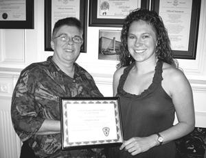 <p><strong>Shayna Cieply (right) shown with Southbury Ambulance Association President Geralyn Hoyt.</strong></p>