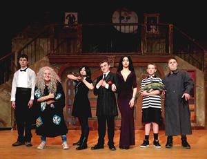 """<p class=""""p1""""><strong>The Nonnewaug High School Drama Department's production of the new musical comedy """"The Addams Family"""" will open this Thursday, March 26 at 6 p.m., and continue through the weekend with four additional performances on March 27, 28, and 29. The kooky cast of family members includes (from left) freshman Matthew Gilligan as Lurch, junior Gemma Bauer as Grandma, sophomore Kate Rupar as Wednesday, junior Grant Herchenroether as Gomez, senior Maggie Gillette as Morticia, seventh grader Ian Bauer as Pugsley and junior Henry Heilshorn as Uncle Fester. (O'Brien photos)</strong></p>"""