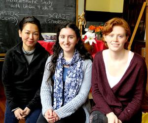 "<p class=""p1""><strong>Westover School art instructor Leeah Joo (from left) congratulated Leah Nashel, a junior from Newtown, and Nora Shapiro, a senior from Fairfield, who won Silver Medals at this year's National Scholastic Art Award competition.</strong></p>"