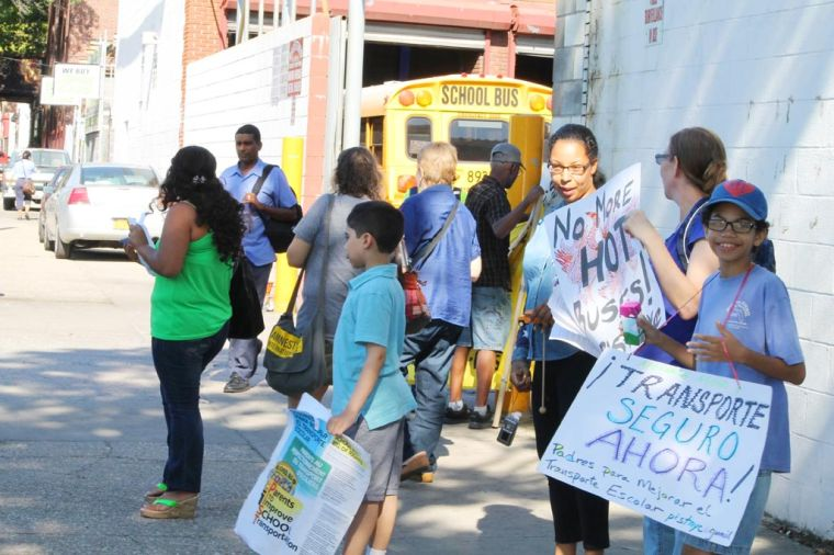 Parents protest hot school buses 1
