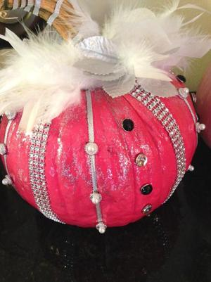 <p>One of the decorated pumpkins Monica Cavounis will sell at Sunday's walk to raise funds for breast cancer research.</p>