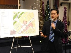<p>Attorney Richard Lobel, representing DERP Associates, makes his case before Community Board 13 for a zoning change at a Queens Village shopping center that is now home to a Sears hardware store.</p>