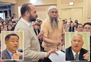 <p>At a candidates' forum in Flushing on Tuesday night for John Liu, left inset, and state Sen. Tony Avella, dissidents disrupted the program to protest Liu's beliefs.</p>