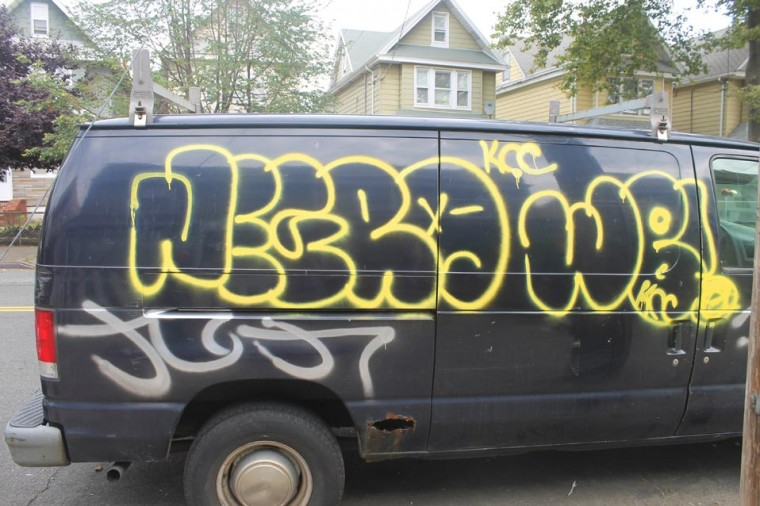 Graffiti hits vans on Sutter Avenue 2