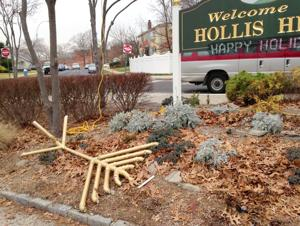 <p>The giant menorah was knocked down and destroyed in Hollis Hills prior to the start of the Chanukah celebration.</p>