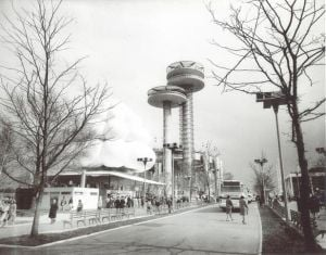 <p>A scene at the 1964-65 World's Fair at Flushing Meadows shows one of the Brass Rail restaurants with the bubble top and the New York State Pavilion.</p>