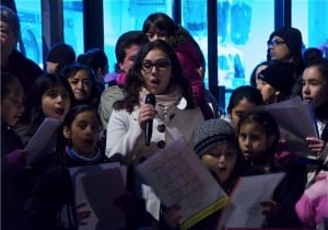Singing at the Skillman Avenue lighting ceremony