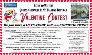 Enter to Win the Queens Chronicle & NY Diamond Boutique Valentine Contest