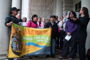 <p>Protesters from the Fairness Coalition of Queens gathered ahead of a City Council Parks Committee hearing to call for more funds and better protections for Flushing Meadows.</p>