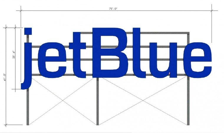 JetBlue's sign ready for takeoff 2